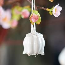 Campana decorativa en forma de flor Blanco, oro 4piezas