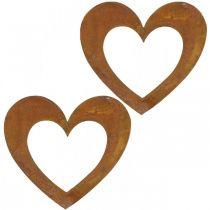 Corazón óxido decoración corazón jardín metal 15cm 6pcs