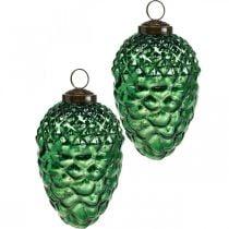 Decoración de Adviento, conos decorativos, frutas otoñales de cristal auténtico, aspecto antiguo Ø7cm H11.5cm 6ud