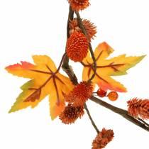 Guirnalda de otoño con hojas de arce y conos de naranja 1.28m