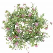 Corona de flores de pradera con trébol Flocado Rosa, Verde Ø30cm