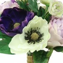 Ramo con anémonas y rosas Violeta, crema 30cm.