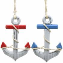 Ancla decorativa madera rojo / azul, blanco 15 × 23.5cm, juego de 2