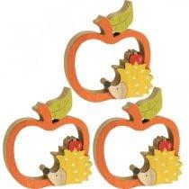 Figura decorativa otoño, manzana con erizo, decoración de madera 16,5 × 15cm 3 piezas
