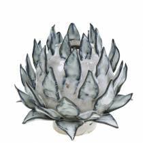 Florero decorativo arte shock cerámica azul, blanco Ø9.5cm H9cm