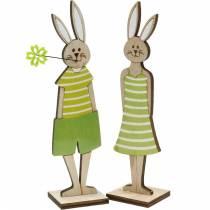 Soporte de conejito de pascua conejito verde madera decoración de pascua 4 piezas
