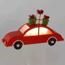 Coche de Navidad con LED de metal rojo 25cm H14.5cm para batería.