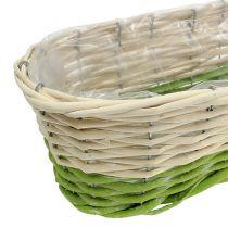Caja de balcón ovalada 48x18cm H14cm crema, verde