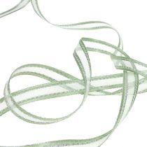Cinta de regalo verde menta con plata 15mm 20m