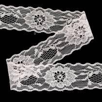 Cinta de encaje floral con borde ondulado Rosa 40mm 20m