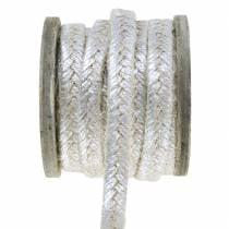Cordón ancho yute Plata 10mm 4m