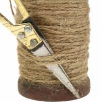 Rollo de cinta cinta de yute con tijeras Ø5cm H8cm 2pcs