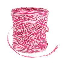 Bast como cinta de regalo rosa-blanco 200m