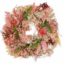 Corona de brezo rosa artificial Ø48cm