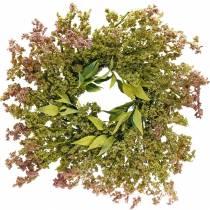 Corona de brezo verde artificial, rosa Ø72cm