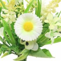 Ramo primaveral con Bellis y Jacinto artificial blanco, amarillo 25cm