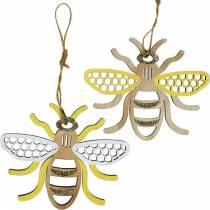 Decoración para colgar abejas amarillo, blanco, dorado madera decoración de verano 6pcs