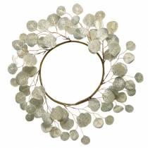 Corona de hojas artificial champagne hojas redondas Ø55cm