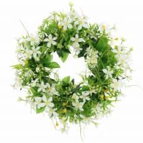 Corona anémona / eneldo verde, blanco Ø30cm
