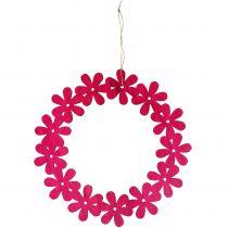 Corona de flores de madera en rosa Ø35cm 1p