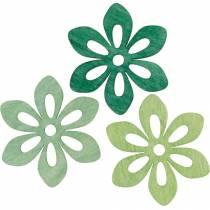 Flores de dispersión verde, decoración de primavera, flores de madera para esparcir, decoración de mesa 72 piezas
