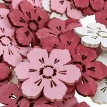 Flores de madera flores de cerezo, espolvorear primavera de decoración, decoración de mesa, flores para espolvorear 72 piezas