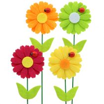 Deco pegatina flor con mariquita H24cm 12pcs