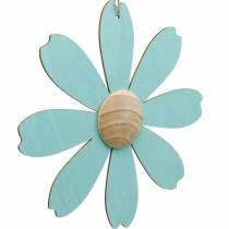 Flores de madera para colgar, decoración de primavera, flor de madera rosa y azul, verano, flores decorativas 4 piezas