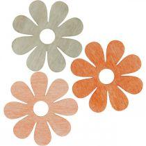 Flores para espolvorear naranja, albaricoque, marrón espolvorear madera deco 72pcs