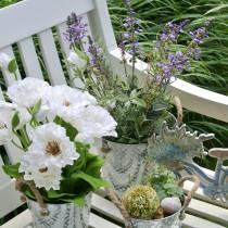 Decoración de flores lavanda en maceta plantas artificiales.