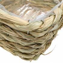 Cesta de flores, cesta decorativa de heno, jardinera, cesta decorativa cuadrada, juego de 3