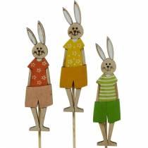 Enchufe de flores Conejo de Pascua en un palo Conejito de madera Decoración de Pascua Decoración 9pcs