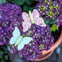 Alfiler flor mariposa madera 18cm 12pcs