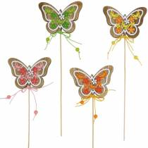 Enchufe de flor mariposa madera primavera decoración en varilla 12 piezas