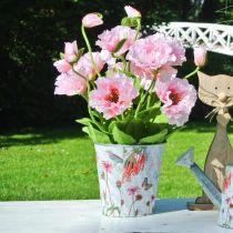 Jardinera flores de metal maceta decoración de primavera Ø15cm H15.5cm