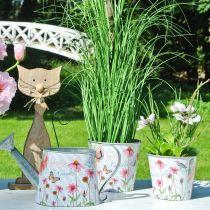 Jardinera de metal con decoración de primavera Echinacea Ø13.5cm H11.5cm