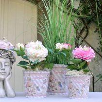 Maceta de metal rosas decoración de verano jardinera Ø13.5cm H11.5cm