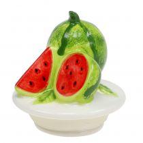Plato de caramelo de vidrio con tapa de fruta melón A15,5cm