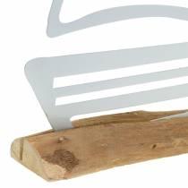 Bota sobre base de madera metal blanco 25cm H24.5cm
