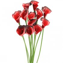 Ramo de flores artificiales rojo calla burdeos 57cm 12ud