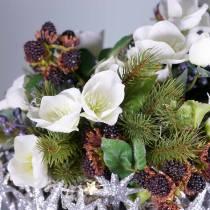 Ramo de rosas navideñas 39cm crema