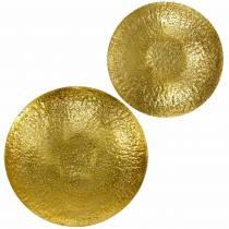 Cuenco decorativo dorado metal Ø35 / 46cm, juego de 2