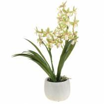 Orquídea artificial Cymbidium en maceta Verde A46cm