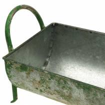 Comedero decorativo de zinc para plantar con mangos gris, verde 60 / 43cm juego de 2