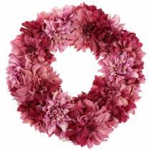 Guirnalda de flores dalia rosa vieja, malva Ø42cm