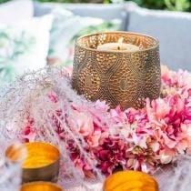 Corona de flores de dalia rosa, crema Ø42cm