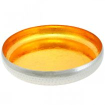 Cuenco decorativo de metal redondo Bandeja dorada y plateada Ø36.5cm