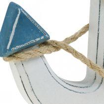 Ancla de madera decorativa para fijar la decoración de la mesa azul marino, blanco Al.24cm