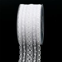 Cinta de regalo para la decoración encaje 55mm 20m blanco