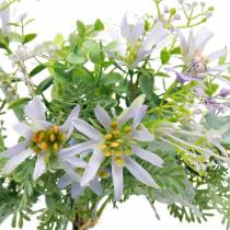 Ramo decorativo, flores de seda violeta, adornos primaverales, ásteres artificiales, claveles y eucaliptos